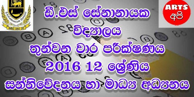D.S Senanayake College Final Term Test Media 2016 Grade 12