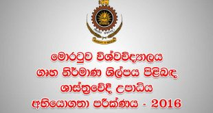 University of Moratuwa Bachelor of Architecture Aptitude Test 2016