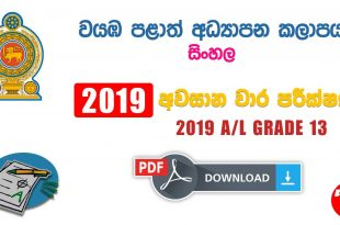 North West Provincial Final Term Test Paper Sinhala Grade 13 2019